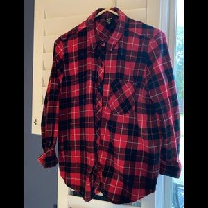 Forever 21 Red and black plaid flannel shirt .